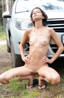 Skinny Sexy Teen Posing Near Tiguan Car
