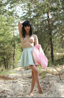 Sweet Brunette Hottie Malena Posing Outdoors