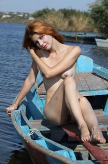 Sexy Redhead Teen Viky C Strips Outdoors
