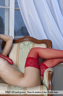 Olina R Wearing Red Stockings