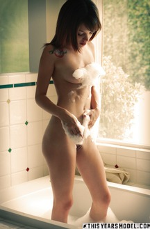 Hot Brunette Ashley Doll Take A Bath