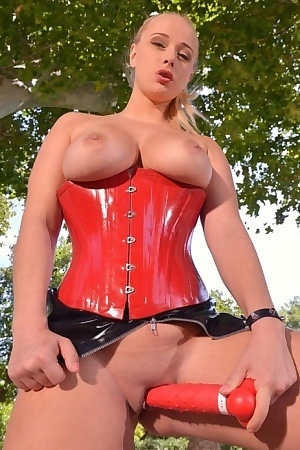 Busty Mistress Red Toy