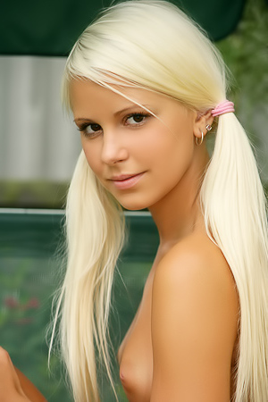 Young blonde outdoors