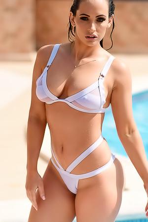 Busty Anastasia Harris Strips By The Pool