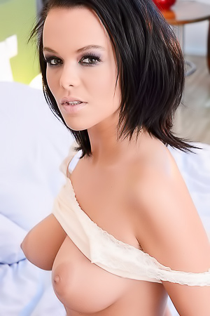 Big Boobed Linet Toying With Long Dildo