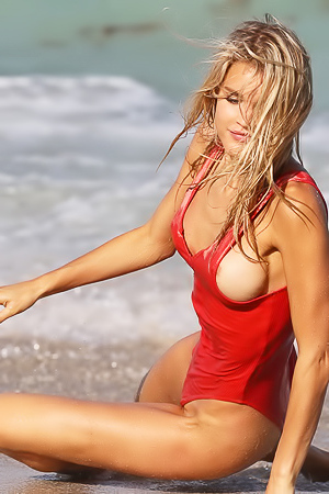 Joy Corrigan Hot Nipple Slip In Thong Red Swimsuit