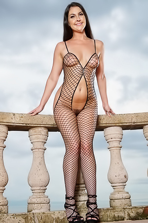 Brittany Shae in black fishnet