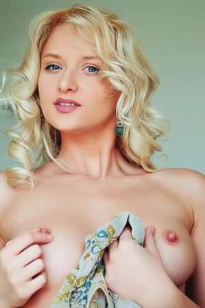 blue-eyed blonde Ukrainian babe